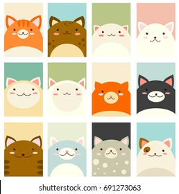 Banner, background, flyer, placard in hand drawn style with cute cats. Holiday poster for scrapbooking. Vector template card for greeting,  congratulation, invitation in pastel colors. EPS8