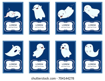 Banner, background, flyer, placard in hand drawn style with cute ghosts. Poster for scrapbooking. Vector template card for greeting, decoration, congratulation, invitation. EPS8