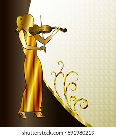 Banner, background  with violinist playing classical violin