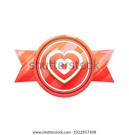 Banner, Badge Isolated on White Background. Heart Sign on Ribbon. Vector Illustration in Red Colors. Vector Design Element for Valentines Day, Wedding and More.