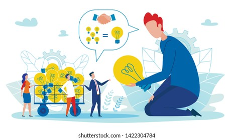Banner Balanced Approach to Implementation Ideas. People Brought Lot Light Bulbs in Cart. Drawing Up Contract Between Team and Creative Employee. Big Man Holding Lamp. Vector Illustration.