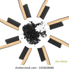 Banner Bamboo Toothbrushes in a circle. Zero waste, set of brushes with black bristles. Charcoal, carbon. Biodegradable material. Eco-friendly products. Isolated on white background Vector