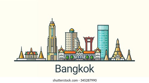 Banner of Bangkok city in flat line trendy style. All buildings separated and customizible. Line art.
