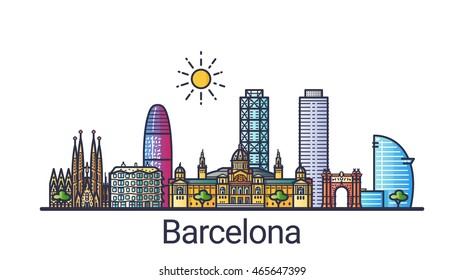 Banner of Barcelona city skyline in flat line trendy style. Barcelona city line art. All buildings separated and customizable.
