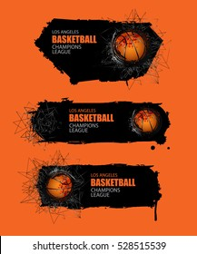 Banner for basketball. Set vector template. Grunge background and geometric objects, triangles. EPS file is layered.