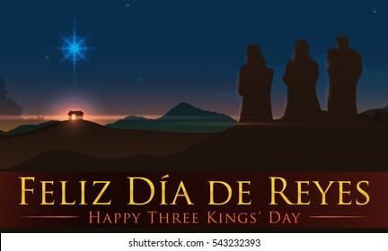 Banner with beauty view of the Three Magi staring at the Bethlehem's star above of the birth place of Jesus with greeting text (in English and Spanish).