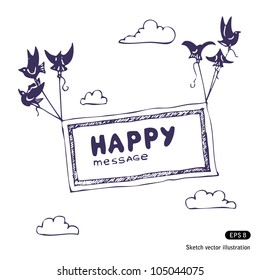 Banner with the birds in the sky. Hand drawn sketch illustration isolated on white background