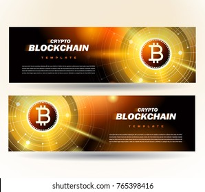 Banner bitcoin cryptocurrency finance theme blockchain gold color