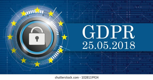 Banner with Bits, DLock, EU-Flag and text General Data Protection Regulation. Eps 10 vector file.