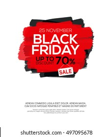 Banner with Black Friday inscription on abstract ink blots for sale and discount.