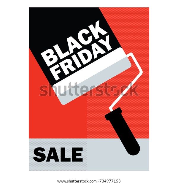 Banner Black Friday Friday Paint Roller Stock Vector Royalty Free 734977153