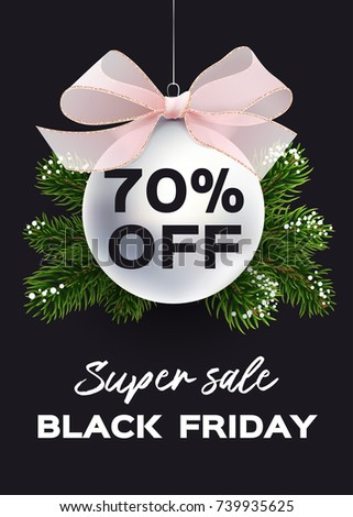 banner black friday sale vector flyer template realistic illustration xmas ball with bow - Black Friday Christmas Tree Sale