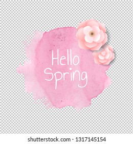 Banner Blob With Flowers Transparent Background, Vector Illustration