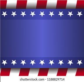 banner blue background, red stripes, white stars