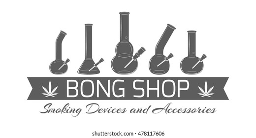 Banner for bong shop. Monochrome emblem with different glass smoking devises and ribbon on white background. Logotype template for store advertising or signboard. Vector illustration.