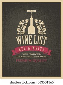banner with a bottle of wine and the text on the background fabric texture in retro style