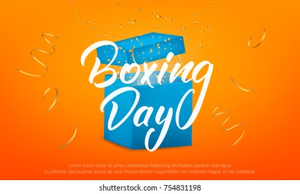 Banner with Boxing Day lettering text, glossy gift box and realistic gold confetti particles flying around.