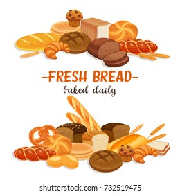 Banner with bread products. Rye bread and pretzel, muffin, pita, ciabatta and croissant, wheat and whole grain bread, bagel, toast , french baguette for design menu bakery.