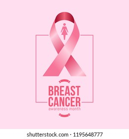 Banner for breast cancer awareness month in october with realistic pink ribbon. vector illustration