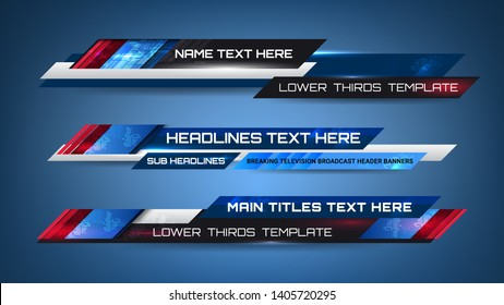 Banner of Broadcast News Lower Thirds Template for Television, Video and Media Channel