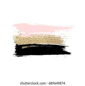 Banner of brush strokes with gold, pink and black color isolated on white background.