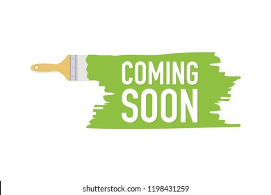 Banner with brushes, paints - Coming soon. Vector stock illustration.