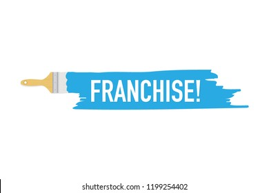 Banner with brushes, paints - Franchise. Vector stock illustration.