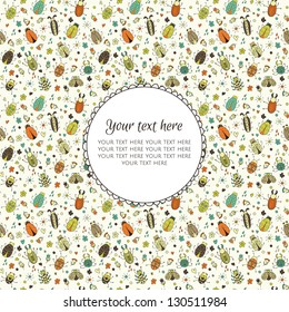Banner with bugs and place for your text in vector. Also you can use background ornament as seamless pattern