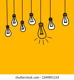 Banner with bulb lamps, symbol of intelligence, genius, idea of ​​business insight, concept of leadership. Vector illustration