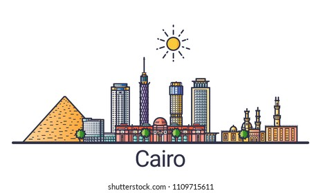 Banner of Cairo city in flat line style. Cairo city line art. All linear buildings separated and customizable.