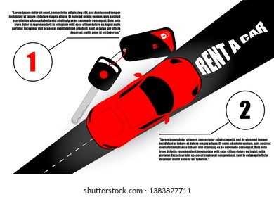 Banner for car rental, car keys, road