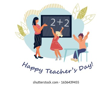 Banner or card template for Teachers Day with school children and teacher in classroom. Greeting for pedagogues and employees in educational industry holiday. Flat vector illustration isolated.
