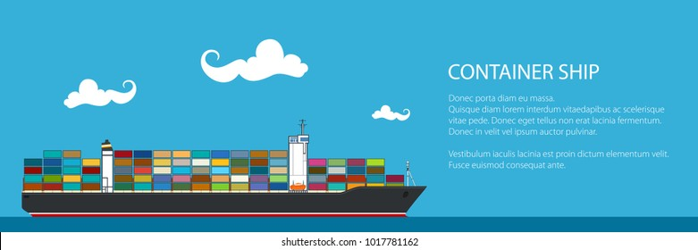 Banner with Cargo Container Ship , Industrial Marine Vessel with Containers on Board and Text, International Freight Transportation, Vector Illustration