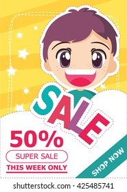 Banner with cartoon style boy. sale banner template design.