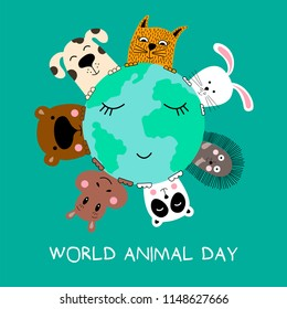 Banner with cat, dog, panda, bear, hippo, rabbit and hedgehog. World animal day. Vector illustration.