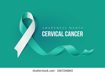 Banner with Cervical Cancer Awareness Realistic Ribbon. Design Template for Info-graphics or Websites Magazines