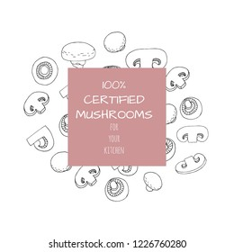 Banner with champignons in hand drawn style. For web, store, product design. Vector illustration.