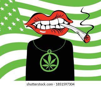 Banner with a character in the form of a man with a mouth with a joint of marijuana in his teeth instead of his head. Vector illustration on the theme of cannabis on background of green american flag
