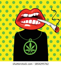 Banner with a character in the form of a man with a mouth smoking joint of marijuana instead of his head. Vector illustration on the cannabis theme in flat style on a yellow background with polka dots