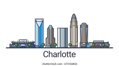 Banner of Charlotte city in flat line trendy style. Charlotte city line art. All buildings separated and customizable.