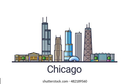 Banner of Chicago city skyline in flat line trendy style. Chicago city line art. All buildings separated and customizable.