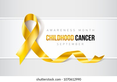 Banner with Childhood Cancer Awareness Realistic Ribbon. Design Template for Websites Magazines