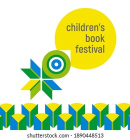 Banner for children's book festival. Open books flying with chick. Concept. Vector minimalistic background with textures. Design template for a library, school. Striving for knowless, education.
