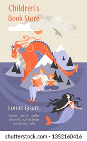 Banner for a children's book store with a family sitting on the beach reading a book and fantastic characters. Dragon and mermaid from a fairy tale. Illustration in cartoon style