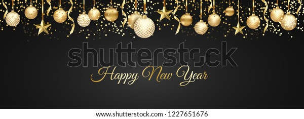 Banner with Christmas balls and stars. Great for New year party posters, headers.