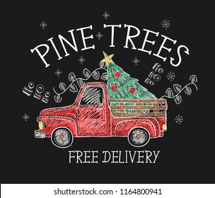 Banner of  Christmas sale with red pickup and pine tree painted colored chalk on blackboard. Vector.