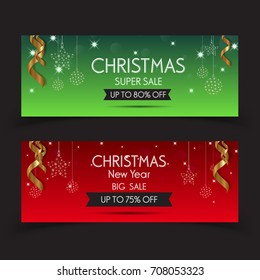 Banner christmas sale . Set of vector design elements.