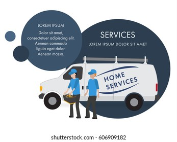 Banner with circles for advertising home service. Field Home service truck with repairers