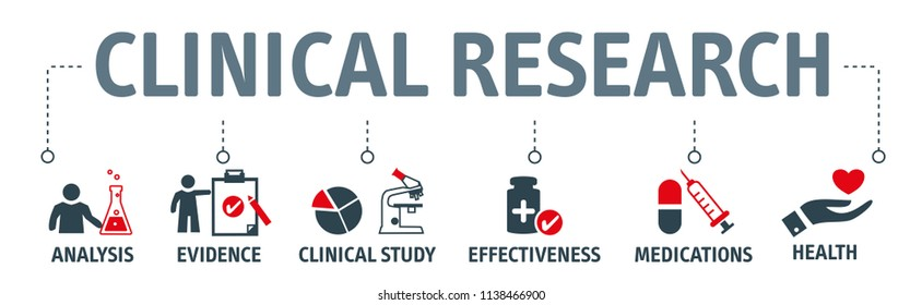 Banner clinical research concept Science, chemistry, technology vector illustration with icons and keywords