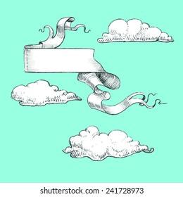 Banner and clouds, vintage, vector design elements